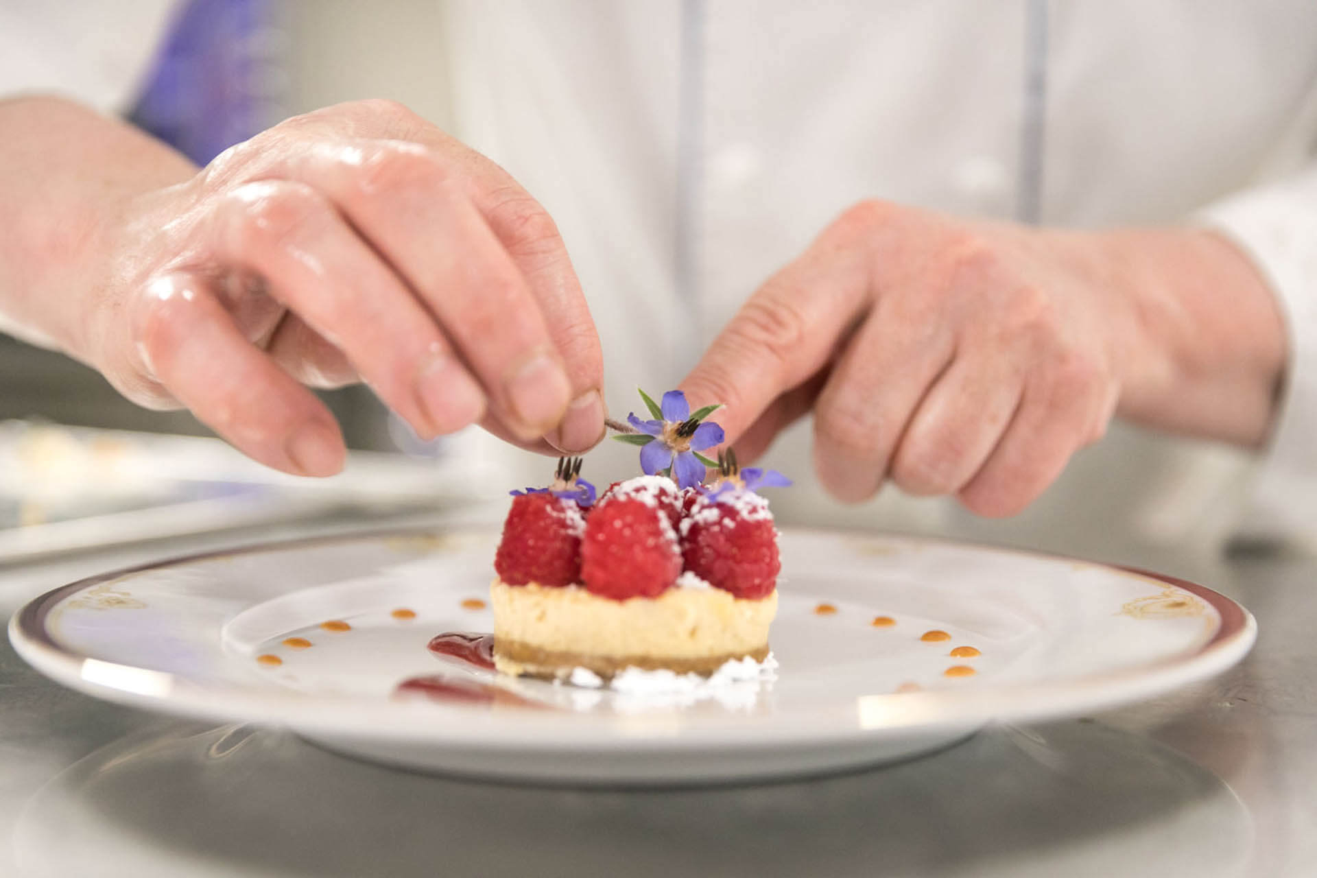 Desserts à la framboise Restaurant Villa Médicis