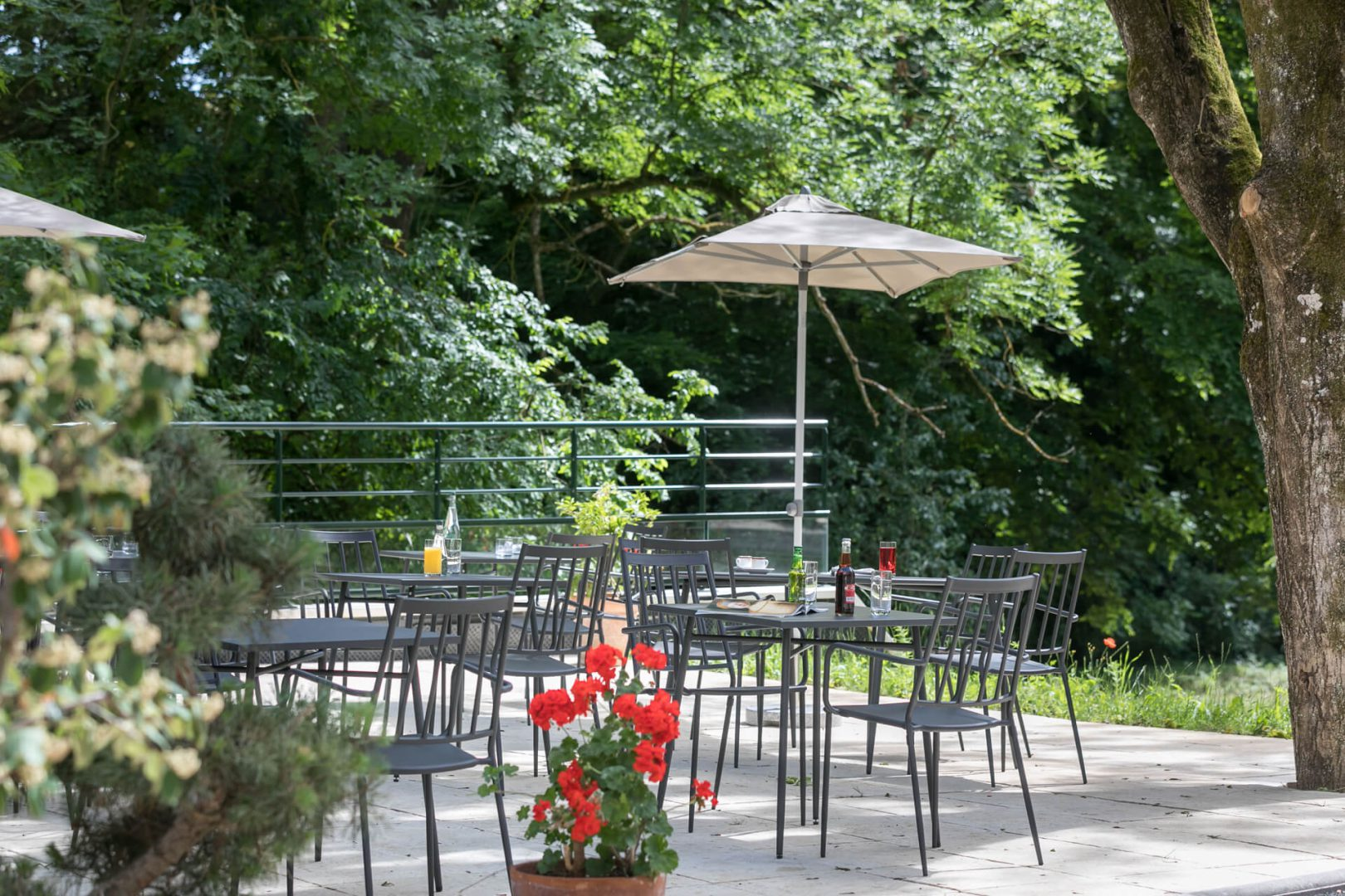 La belle terrasse fleurie de la résidence senior Dijon - Villa Médicis