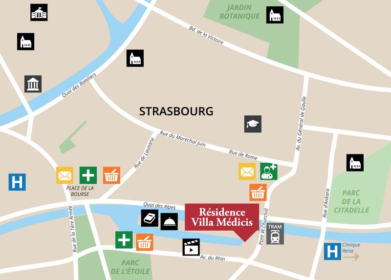 Carte, trouvez l'emplacement de la résidence senior Strasbourg